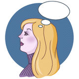 Pop art illustration of a woman. With thinking bubble drawing Stock Image
