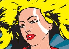 Pop art illustration of a woman. Women with yellow hairs illustration stock illustration