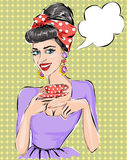 Pop Art illustration woman with morning cup of tea. Pin-up girl speech bubble.  Fashion, wife Royalty Free Stock Photography
