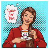 Pop Art illustration of woman with morning cup of tea. Pin-up girl speech bubble. Fashion, sexy wife, hand drawn vector illustration Background Stock Photography