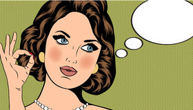 Pop Art illustration of woman with the speech bubble Stock Images