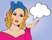 Pop Art illustration of woman with the speech bubble Stock Photo