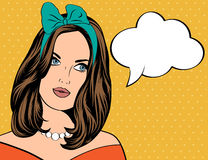 Pop Art illustration of woman with the speech bubble Stock Photography
