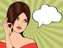 Pop Art illustration of woman with the speech bubble Stock Image
