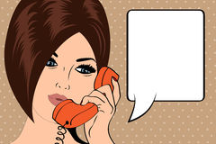 Pop Art illustration of woman with the speech bubble Royalty Free Stock Images