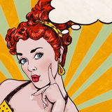 Pop Art illustration of woman with the speech bubble.Pop Art girl.Birthday greeting card.
