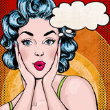 Pop Art illustration of woman with the speech bubble. Pop Art girl. Birthday greeting card.