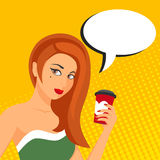 Pop art illustration of woman with speech bubble Stock Photography