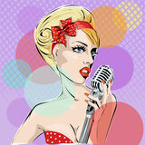 Pop Art illustration of young woman singing with microphone Royalty Free Stock Images