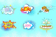 Pop art ilustration. Collection of nine multicolored comic sound Effects. Onomatopoeic expressions: pow, boom, what, oh, oops, no Pop art ilustration Royalty Free Stock Image