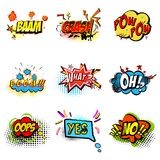 Pop art ilustration. Onomatopoeic expressions: crash, pow, boom, what, oh, oops, yes, no Vector cartoon explosions with different emotions isolated on white Royalty Free Stock Photo