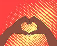 Pop art image of hands in the shape of the heart. The concept of love and friendship Royalty Free Stock Photos