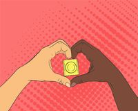 Pop art image of hands in the shape of the heart. Condom. Inside arms sign. The concept of love and healthcare Royalty Free Stock Photography