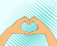 Pop art image of hands in the shape of the heart. stock illustration