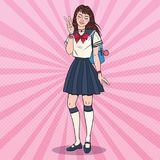 Pop Art Japanese School Girl in Uniform. Asian Teenage Student with Backpack.   Royalty Free Stock Photos
