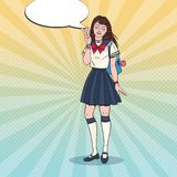 Pop Art Japanese School Girl in Uniform. Asian Teenage Student with Backpack royalty free stock images