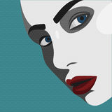 Pop-art jonge Vrouw met rode Lippen royalty-vrije illustratie