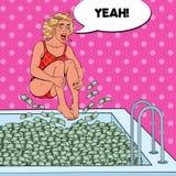 Pop Art Joyful Woman Jumping till pölen av pengar lyckad kvinna för affär Finansiell framgång, rikedombegrepp vektor illustrationer