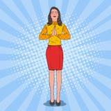 Pop Art Joyful Woman Praying Lycklig kvinnlig bön vektor illustrationer