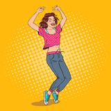 Pop Art Joyful Young Woman Dancing. Excited Teenager Girl. Vector illustration Stock Photo