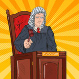 Pop Art Judge in Courtroom Striking the Gavel Stock Images