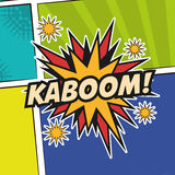 Pop art kaboom texting stars colored background design Royalty Free Stock Photo