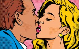Free Pop Art Kiss. Kissing Couple. Man And Woman. Valentines Day Love. Stock Photography - 117409652