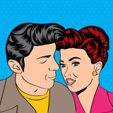 Pop Art KIssing Couple Stock Images