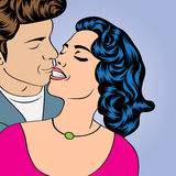Pop Art KIssing Couple Royalty Free Stock Photos