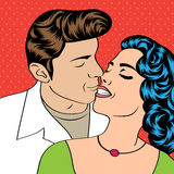 Pop Art KIssing Couple Stock Photos