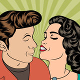 Pop Art KIssing Couple Royalty Free Stock Image