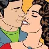 Pop Art KIssing Couple Stock Image