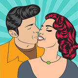 Pop Art KIssing Couple Stock Photography