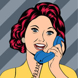 Pop Art lady chatting on the phone Stock Photography