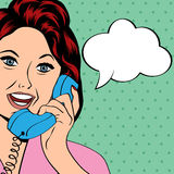 Pop Art lady chatting on the phone Stock Images