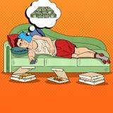 Pop Art Lazy Man Lying op Bank, het Letten op TV en het Dromen over Groot Geld vector illustratie