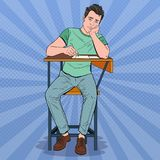 Pop Art Lazy Student Sitting on the Desk During Boring University Lecture. Tired Handsome Man in College. Education. Concept. Vector illustration Stock Photography