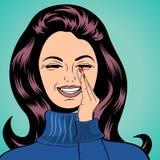 Pop-art leuke retro vrouw in strippaginastijl het lachen Stock Foto