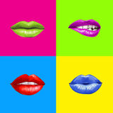Pop art lips.Lips background. Lipstick advertisement.Smiley lips. Temptation, love, happy, lust,kiss lips. Lips set isolated . Design element. Red lips. Lips Stock Photography