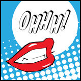 Pop art lips with Ohhh illustration. Pop art lips with Ohhh background Stock Images