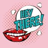 Pop art lipsticks hey there bubble speech design. Vector illustration eps 10 royalty free illustration