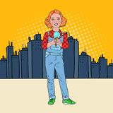 Pop Art Little Girl Eating Tasty Ice Cream in Front of the City. Cute Happy Child Tastes Cold Dessert. Vector illustration Royalty Free Stock Photo