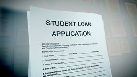 Pop art loan application illustration. Astonishing 3d illustration of a student loan application presented aslant in the white background on a computer screen Stock Photos