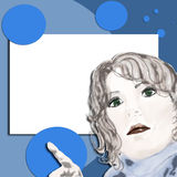 Pop Art - Look Here!. Pop art designed woman with white frame with room for copy on blue background with dots Royalty Free Stock Images