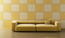 Pop-art lounge room with couch. Pop-art 3d interior with ochre couch and yellow wall Stock Image