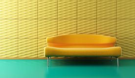 Pop-art lounge room with couch. Pop-art 3d interior with yellow couch and yellow wall Stock Photo
