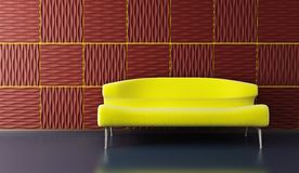Pop-art lounge room with couch Stock Photo
