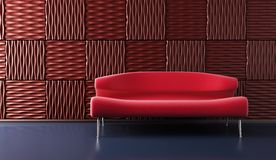 Pop-art lounge room with couch Royalty Free Stock Image