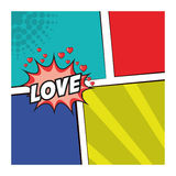 Pop art love message clored background design Stock Images