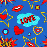 Pop art love pattern. Seamless pattern in pop art style, with hearts and lips and word love Royalty Free Stock Image